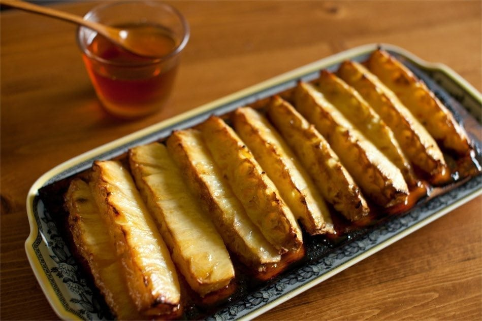 Cedar Planked Pineapple Spears with Butter and Honey Recipe