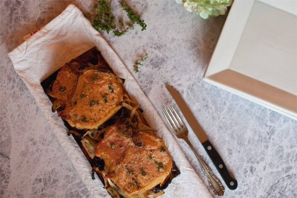 Cherry Planked Pork Chops Recipe