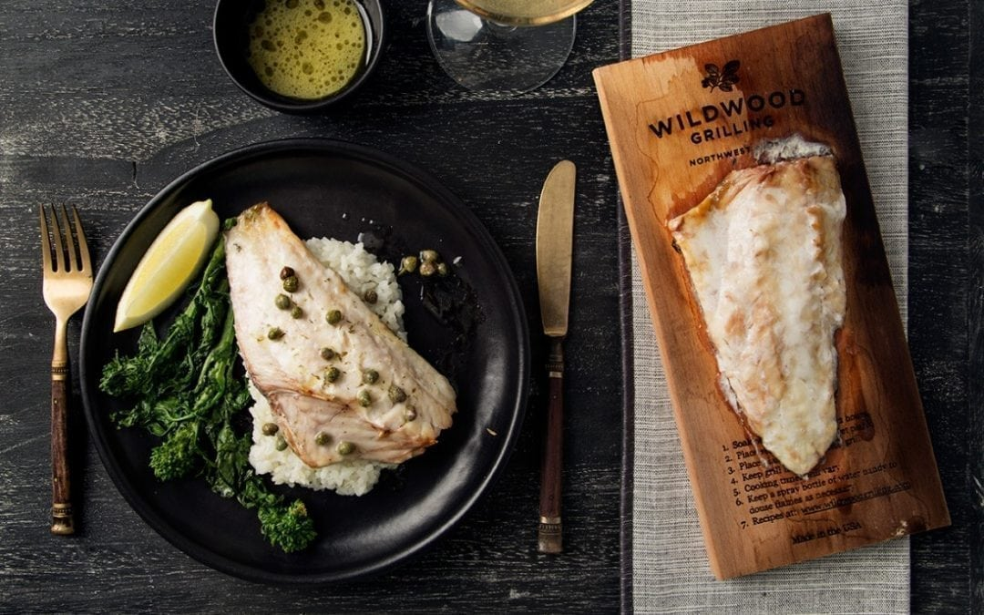 Oven Planked Sea Bass with Lemon & Capers Sauce Recipe