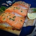 Baked Cedar Planked Salmon with Garlic Honey Butter Recipe
