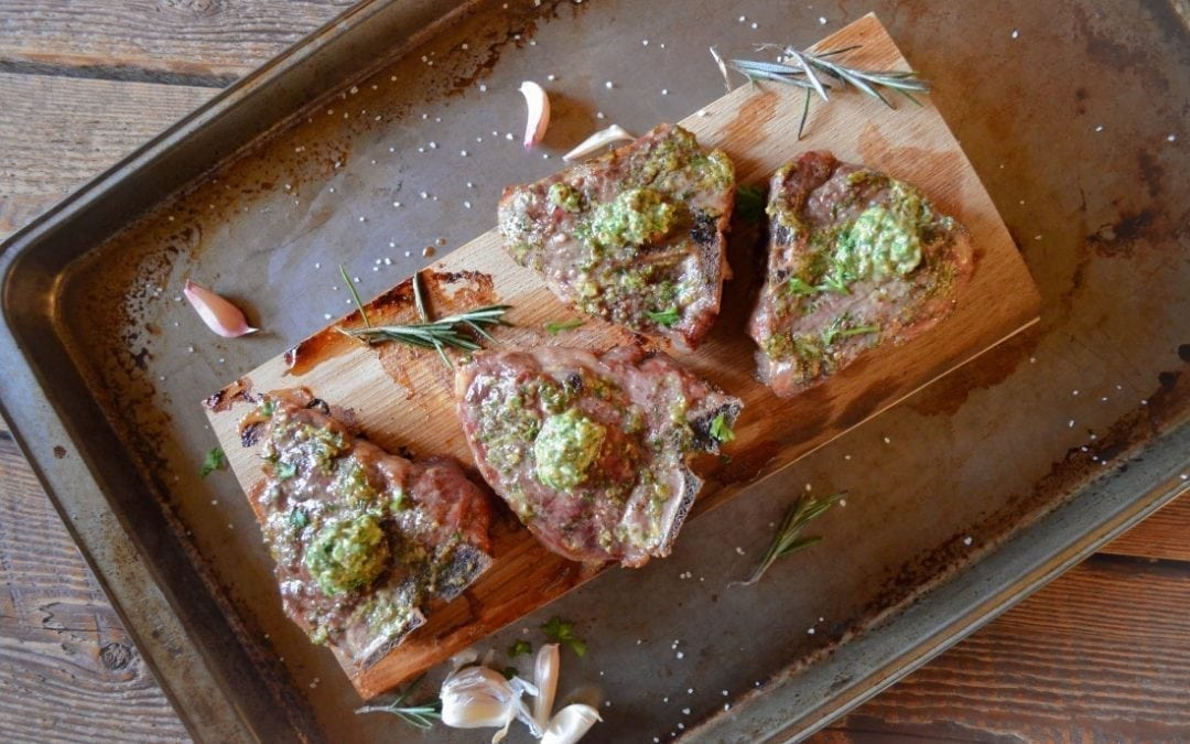 Hickory Planked Lamb Chops with Mint-Mustard Sauce Recipe