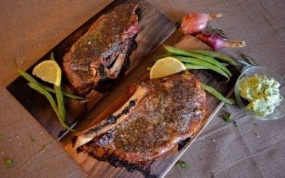 Red Oak Planked Steak with Garlic Herb Butter Recipe