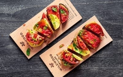 Alder Planked Eggplant with Heirloom Tomatoes Recipe