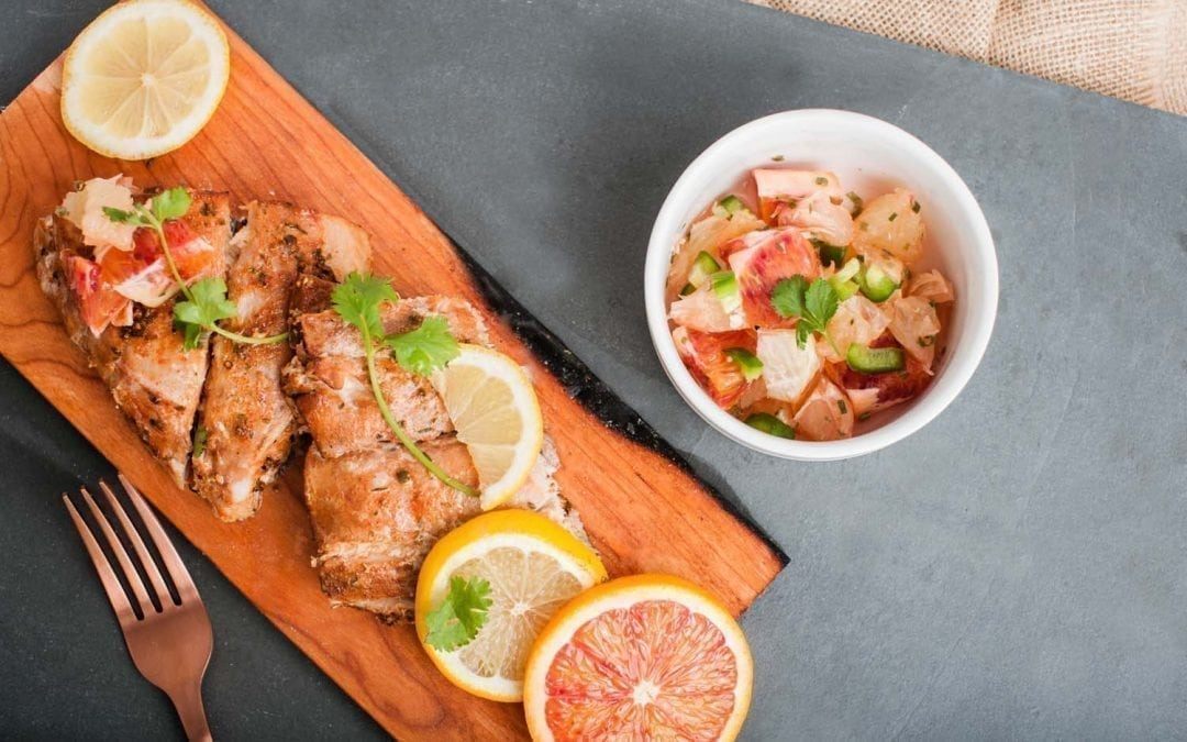 Cedar Planked Spicy Mahi Mahi with Blood Oranges and Citrus Salsa Recipe