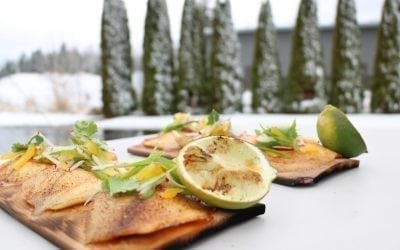 Alder Planked Tilapia with Radish Slaw and grilled Lime