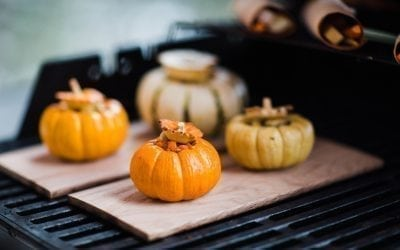 Red Oak Planked, Seed Stuffing Filled Baby Pumpkins