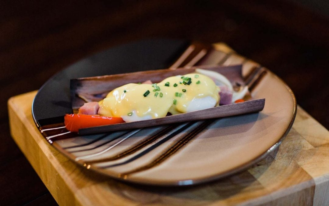 Alder wrapped Benedict with Smoked Hollandaise Sauce