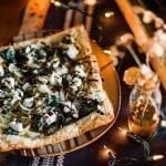 Maple Planked Onion Tart with Spinach, Goat Cheese and Balsamic