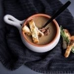 Plank Roasted Parsnip Soup with Rosemary Crostini