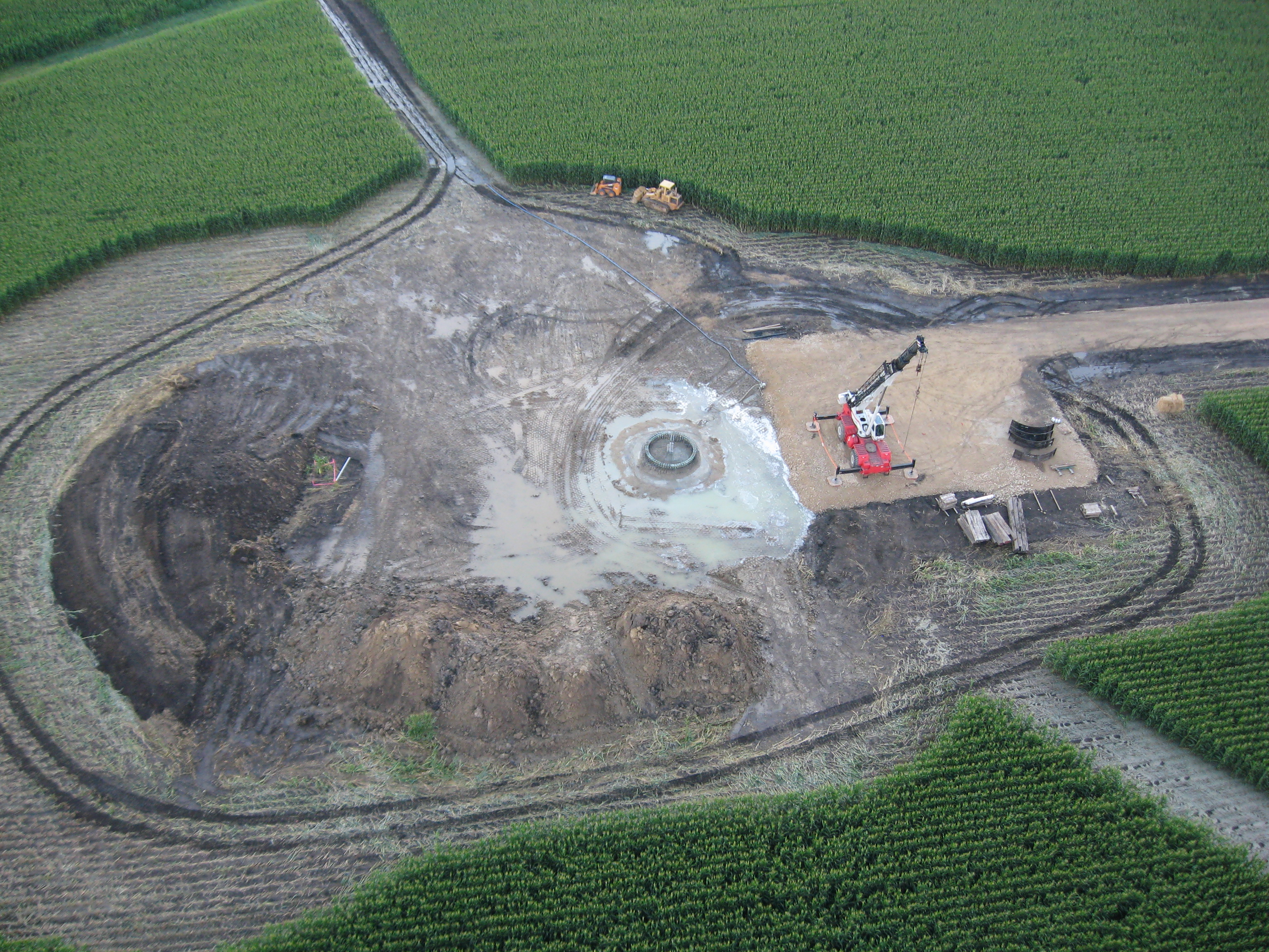 Aerial view of turbine base construction 2: Stephenson County