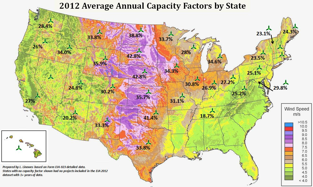 WindAction US Average Annual Capacity Factors By Project And State - Wind map of the us