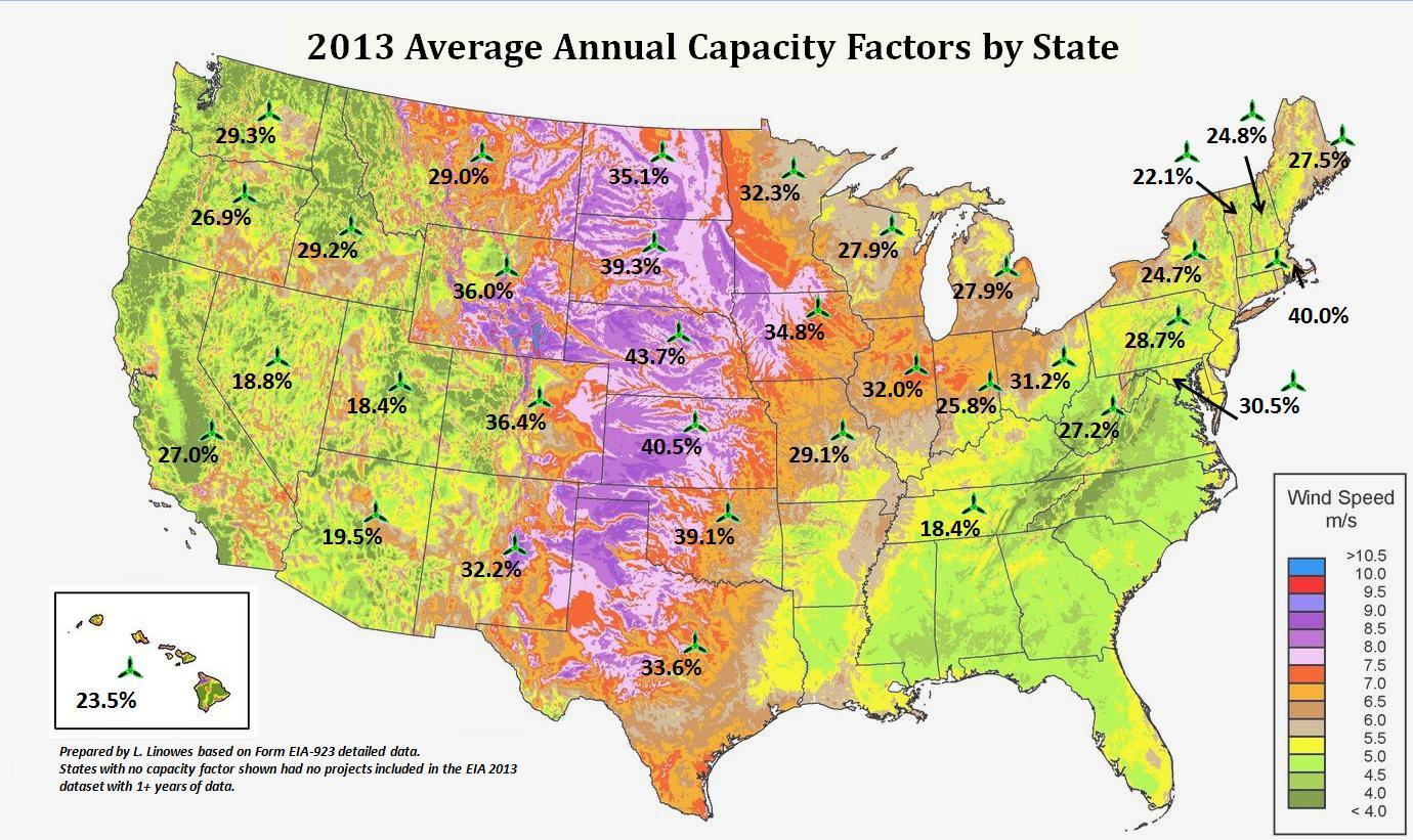 WindAction US Annual Capacity Factors By Project And State - Wind Map For This Week Us