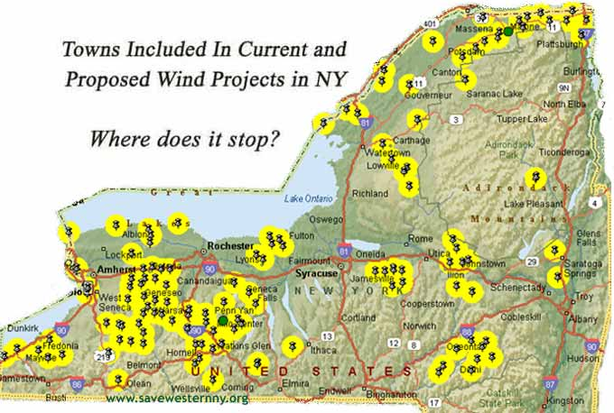 Windaction Map Of Proposed Wind Farms Ny