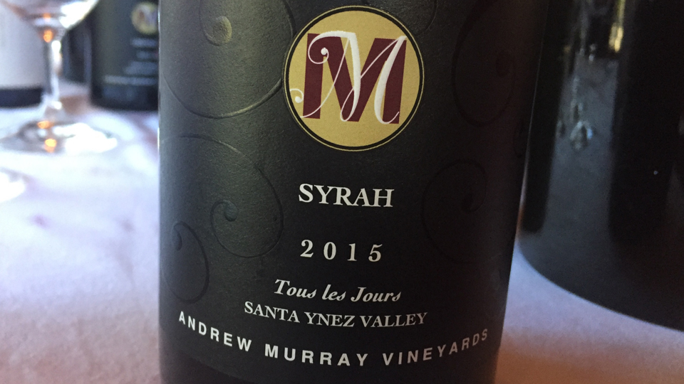 2015 Andrew Murray Vineyards Syrah Tous les Jours ($18.00) 89