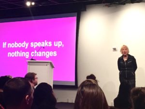 "Cindy Gallop slide ""If nobody speaks up, nothing changes."""