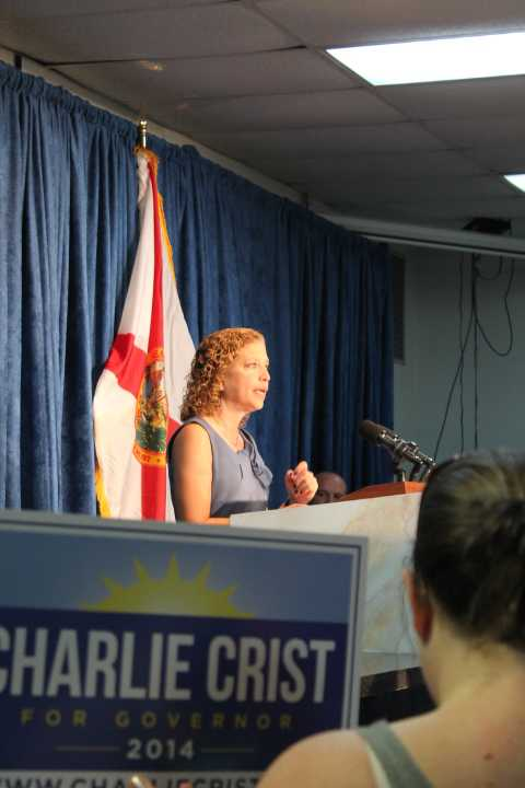 DNC Chair Debbie Wasserman-Schultz stumps at a Democratic unity rally in Orlando, photo by Amy Kiley