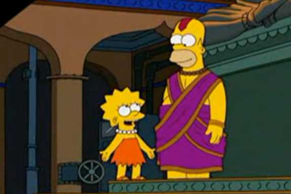 "Homer thinks he is a god in the episode of ""The Simpsons"" set in Bangalore."