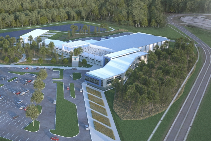 Rendering of OneWeb's satellite manufacturing facility at Exploration Park. Photo: OneWeb