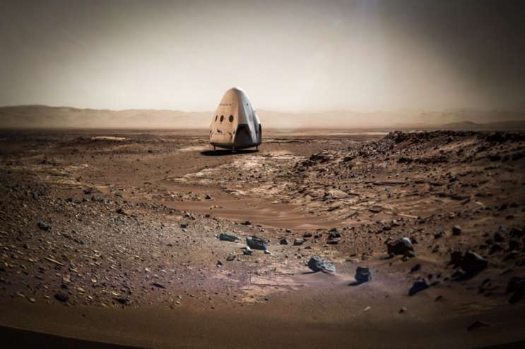 Artist conception of Red Dragon on Mars. Photo: SpaceX