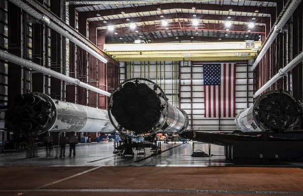 Three recovered SpaceX boosters in hanger at Cape Canaveral. Photo: SpaceX Instagram