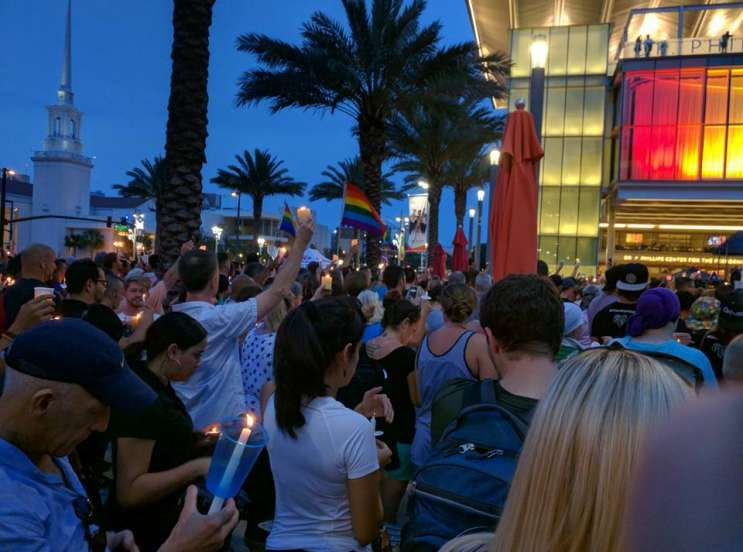 A vigil was held Monday, June 13, on the lawn in front of the Dr. Phillips Center for the Performing Arts.