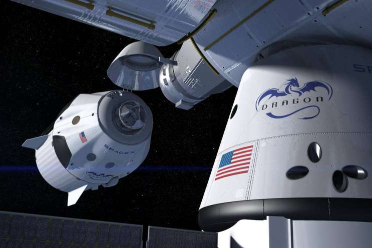 This artist's concept shows a SpaceX Crew Dragon docking with the International Space Station, as it will during a mission for NASA's Commercial Crew Program. NASA is partnering with Boeing and SpaceX to build a new generation of human-rated spacecraft capable of taking astronauts to the station and back to Earth, thereby expanding research opportunities in orbit. Photo: SpaceX