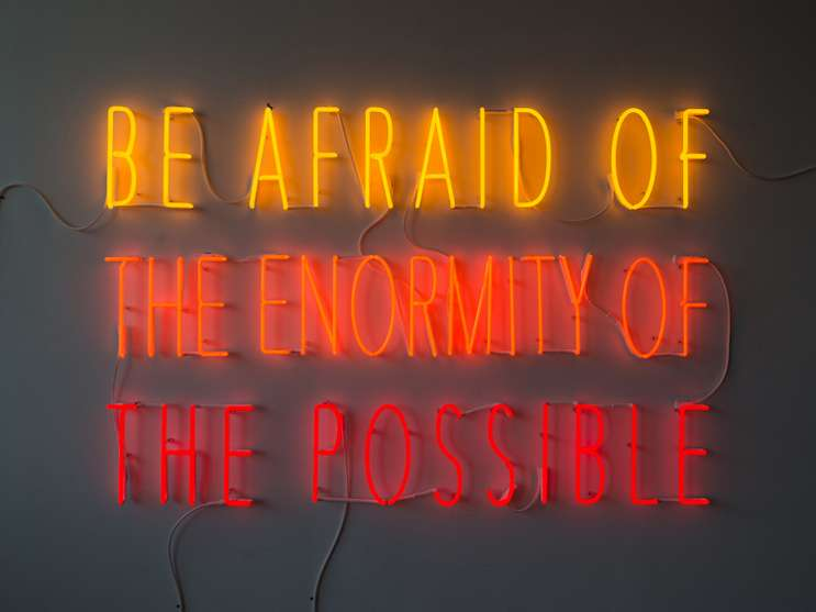 "Image: ""Be Afraid of the Enormity of the Possible"" Alfredo Jaar. The Alfond Collection of Contemporary Art, Cornell Fine Arts Museum, Rollins College."