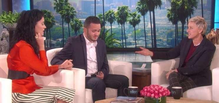 Image: Katy Perry surprises Tony Marrero on 'Ellen'.