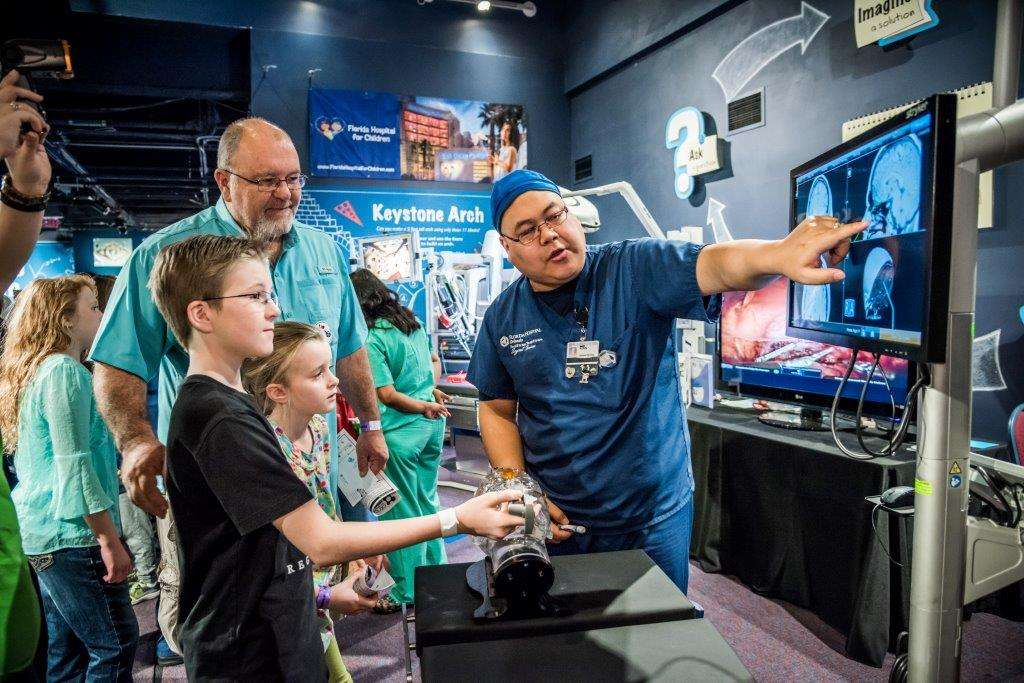 Florida Hospital for Children's Medical Sim City area at Otronicon. They're showing off brain mapping.  Photo by Roberto Gonzalez.