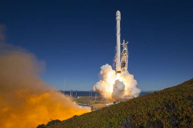 The launch of a Falcon 9 rocket carrying 10 satellites for Iridium Corp from Vandenberg. Photo: SpaceX / Flickr
