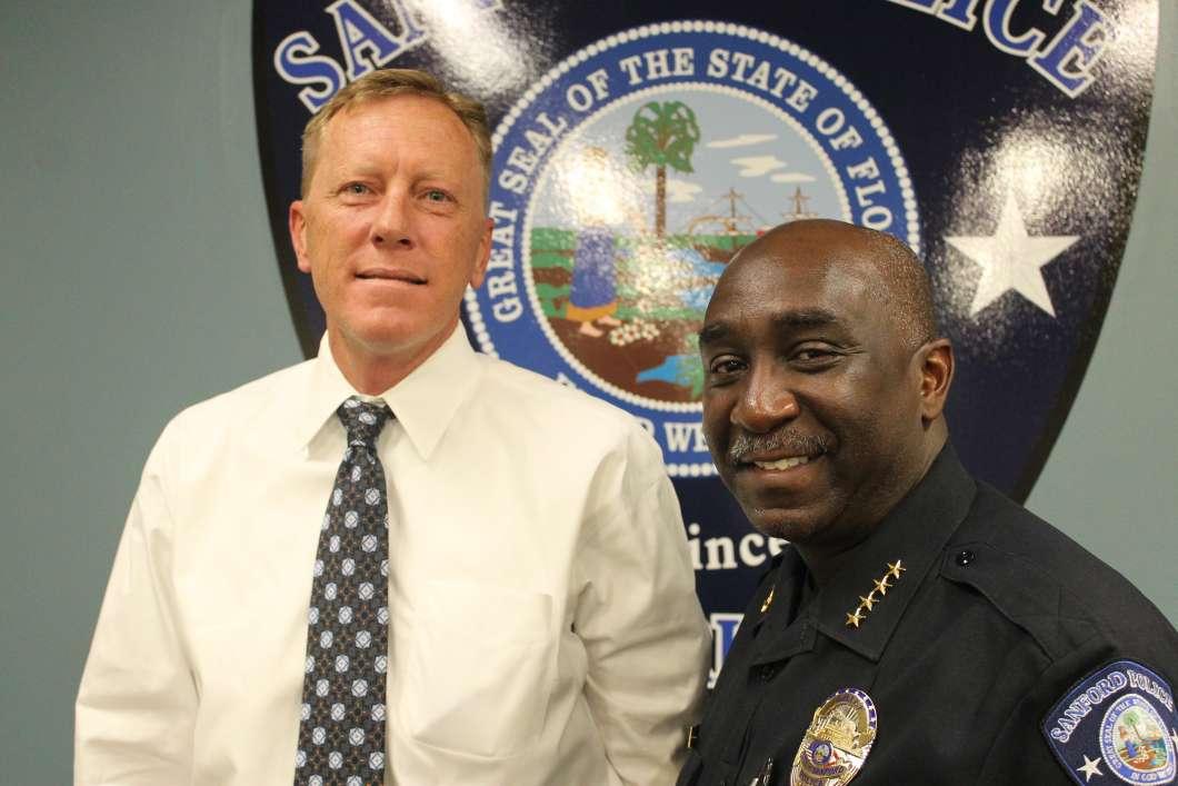 Sanford Mayor Jeff Triplett (l) and Police Chief Cecil Smith. Photo: Matthew Peddie, WMFE