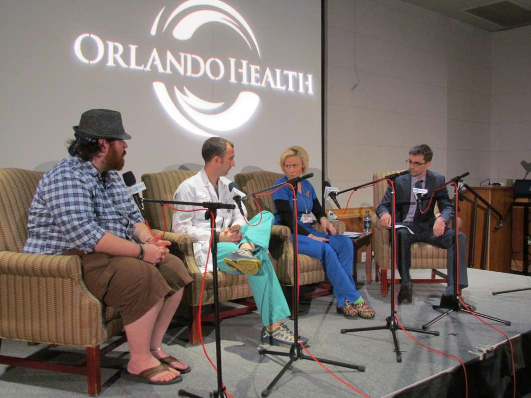 (L-R) Christopher Hansen, Dr. Josh Corsa, Nurse Libby Brown & 90.7's Matthew Peddie during the Taking Your Pulse Town Hall at ORMC. Photo: Jenny Babcock, WMFE
