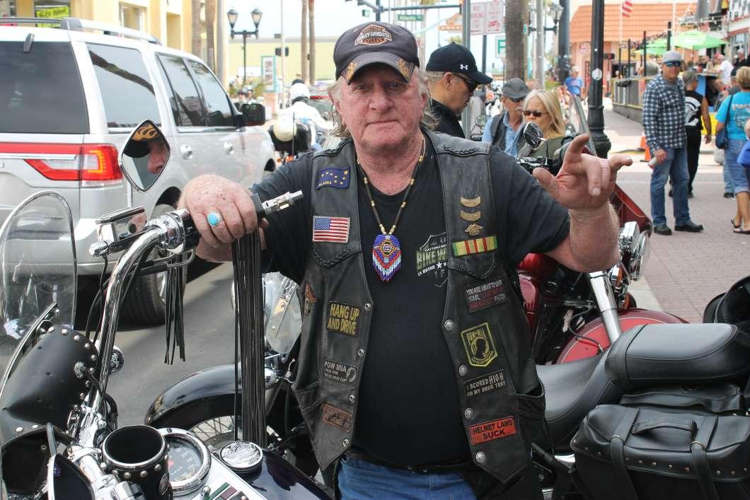 Joe Tallerdy rode his Harley down from North Carolina for Bike Week. Photo: Matthew Peddie, WMFE