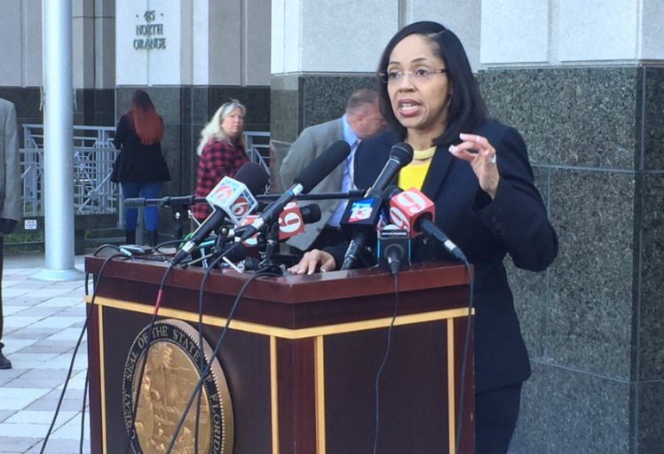 Orange-Osceola State Attorney Aramis Ayala speaks with reporters about her decision to not pursue the death penalty during her administration./ Photo: File, WMFE