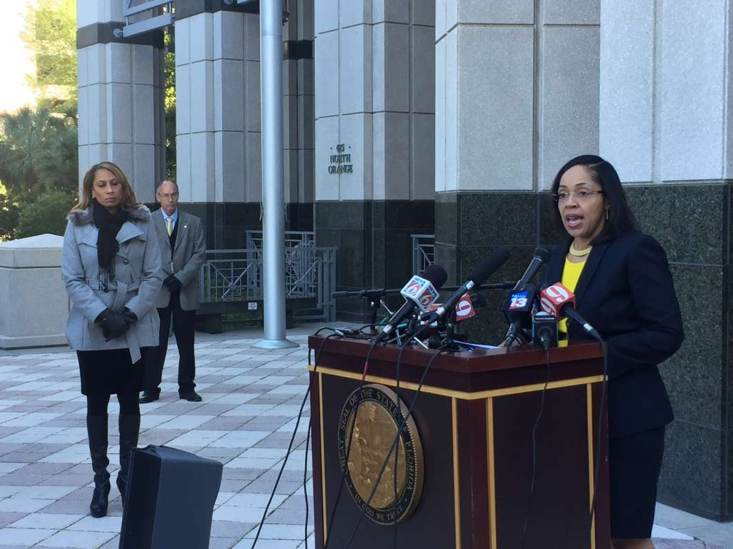 File photo of Ninth circuit state attorney Aramis Ayala at March press conference. Photo: Renata Sago.
