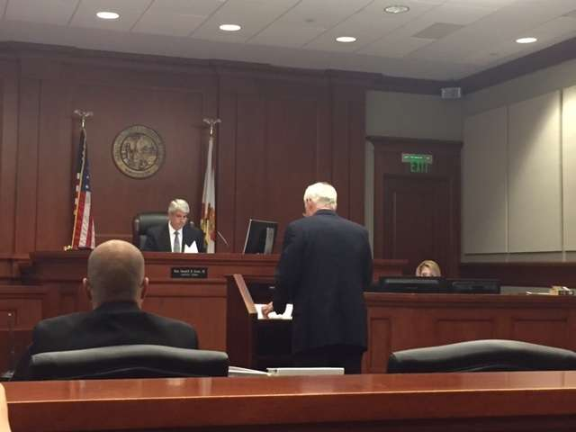Judge Randell H. Rowe III hears arguments from Clint Johnson's attorney Doug Daniels in hearing to return Johnson to city hall./Photo: File