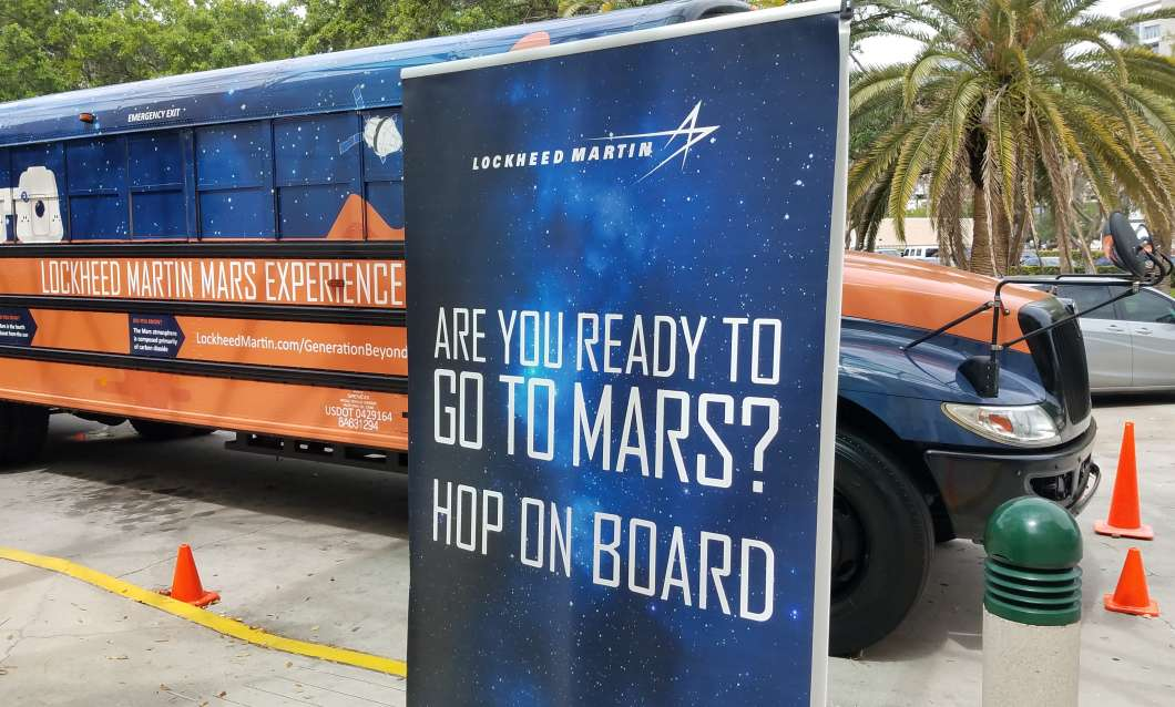 Lockheed Martin's Mars bus stops at the Orlando Science Center.