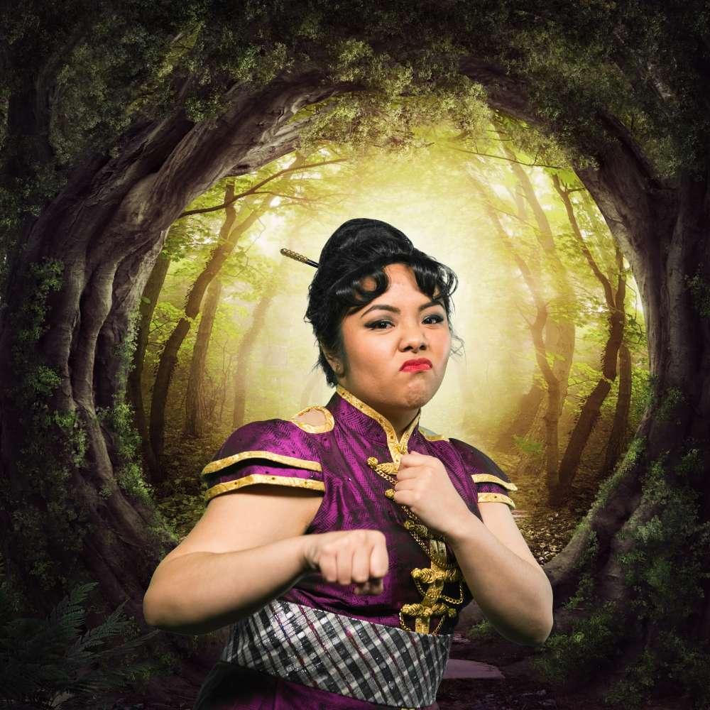 Ann Paula Bautista  as Mulan. Photo courtesy of  Disenchanted! The Hilarious Hit Musical