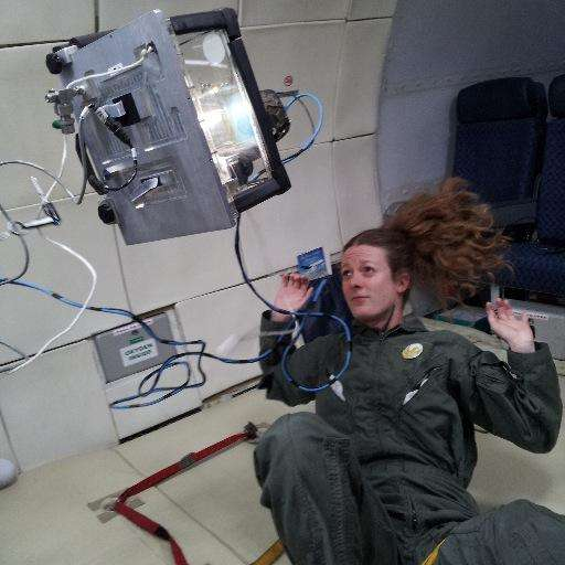 Addie Dove conducts an experiment in micro-gravity during a parabolic flight. Photo: Addie Dove / Twitter