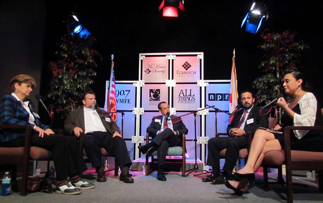 Orlando Commissioner Patty Sheehan, from left, Rev. Bryan Fulwider, Rabbi Steven Engel, Imam Muhammad Musri and WMFE reporter Crystal Chavez at 'Orlando, One Year Later.'
