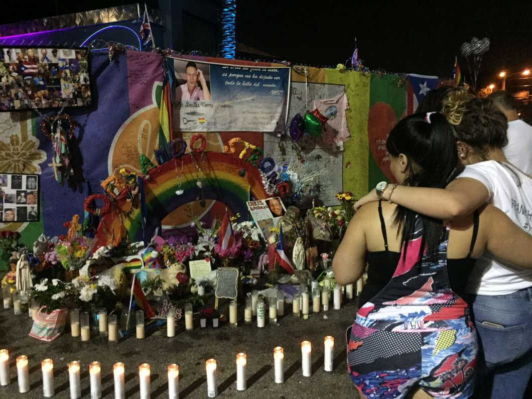 Fresh flowers and candles were brought to Pulse one year after the mass shooting./Photo: Catherine Welch