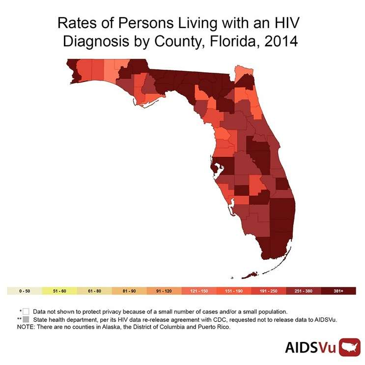 Rates of persons living with HIV 2014