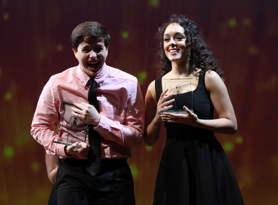 Tony Moreno and Sofia Deler with their Jimmy Awards Photo credit: Henry McGee