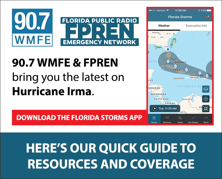 90.7 WMFE will be with you throughout the storm. Here's an outline of our on-air coverage and more resources >>