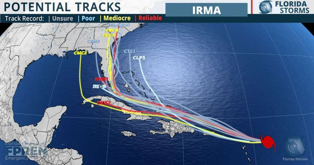 "As of early Tuesday afternoon, the latest five-day ""spaghetti model"" forecast of potential tracks for Hurricane Irma, courtesy of Florida Public Radio Emergency Network"