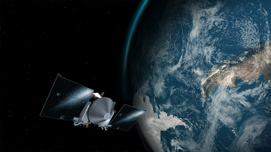 This artist's concept shows the OSIRIS-REx spacecraft passing by Earth. Photo: NASA's Goddard Space Flight Center/University of Arizona