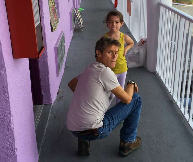 "Image: Willem Dafoe and Brooklynn Prince in the film ""The Florida Project""."