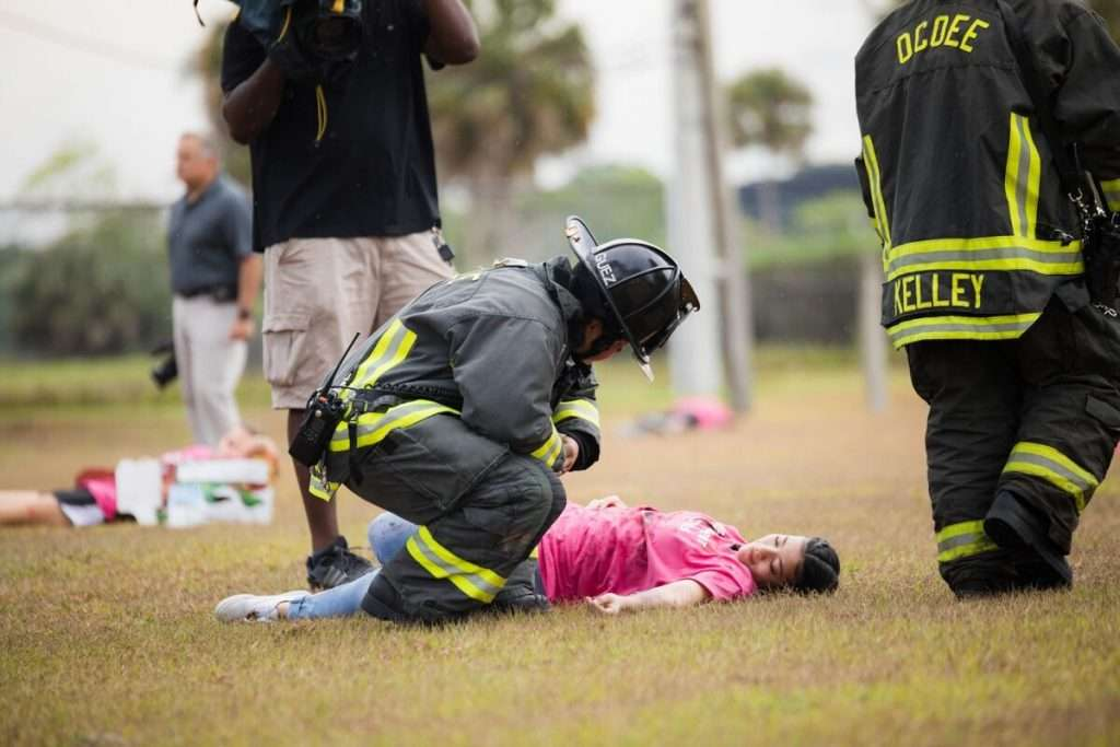 More than 1,200 volunteer victims drilled for a possible dirty bomb in Orange County earlier this year. Training drills like this one will be a requirement under a new federal rule. (Photo by Albert Harris, Orange County)