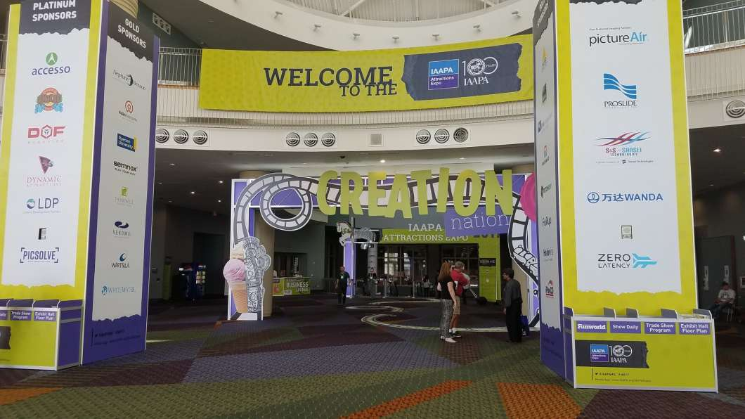 IAAPA Expo trade show entrance ahead of opening Tuesday. Photo: Brendan Byrne
