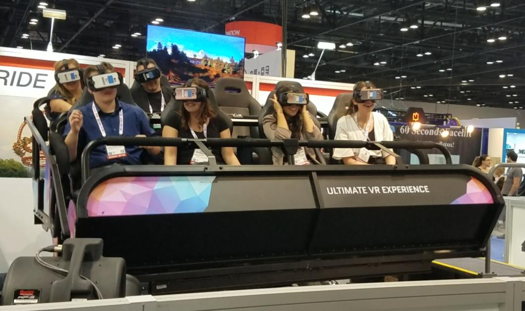 Virtual reality at IAAPA. Photo: Brendan Byrne WMFE.